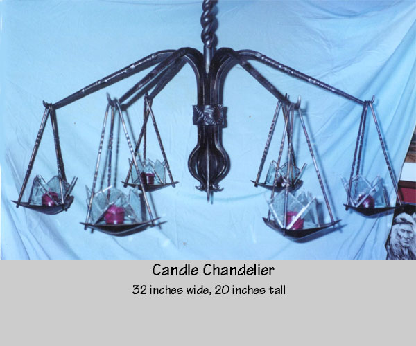 Hand forged candle chandelier